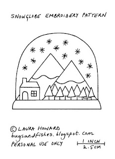 free snow globe embroidery pattern