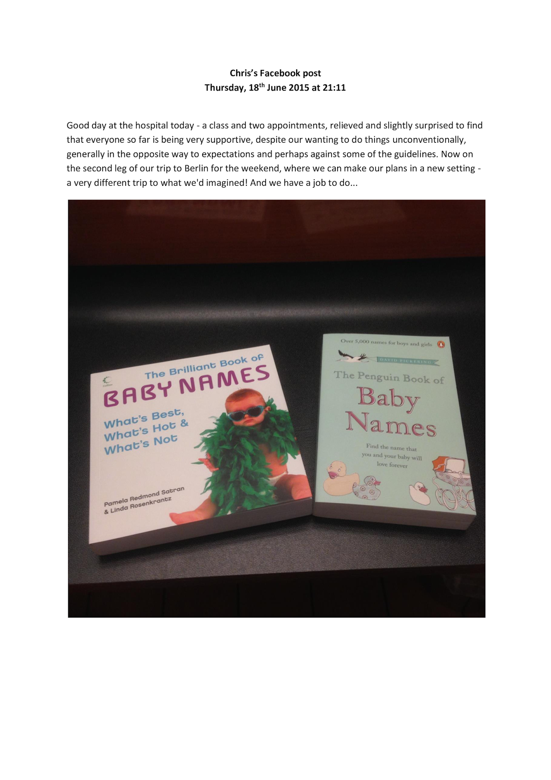 Chris's Facebook post with photo of baby names books