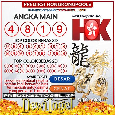 Prediksi Dewi Togel Hongkong HK Rabu 05 Agustus 2020