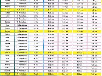 Jadual Waktu Imsak & Berbuka Puasa Bagi Negeri Sembilan Darul Khusus 2016