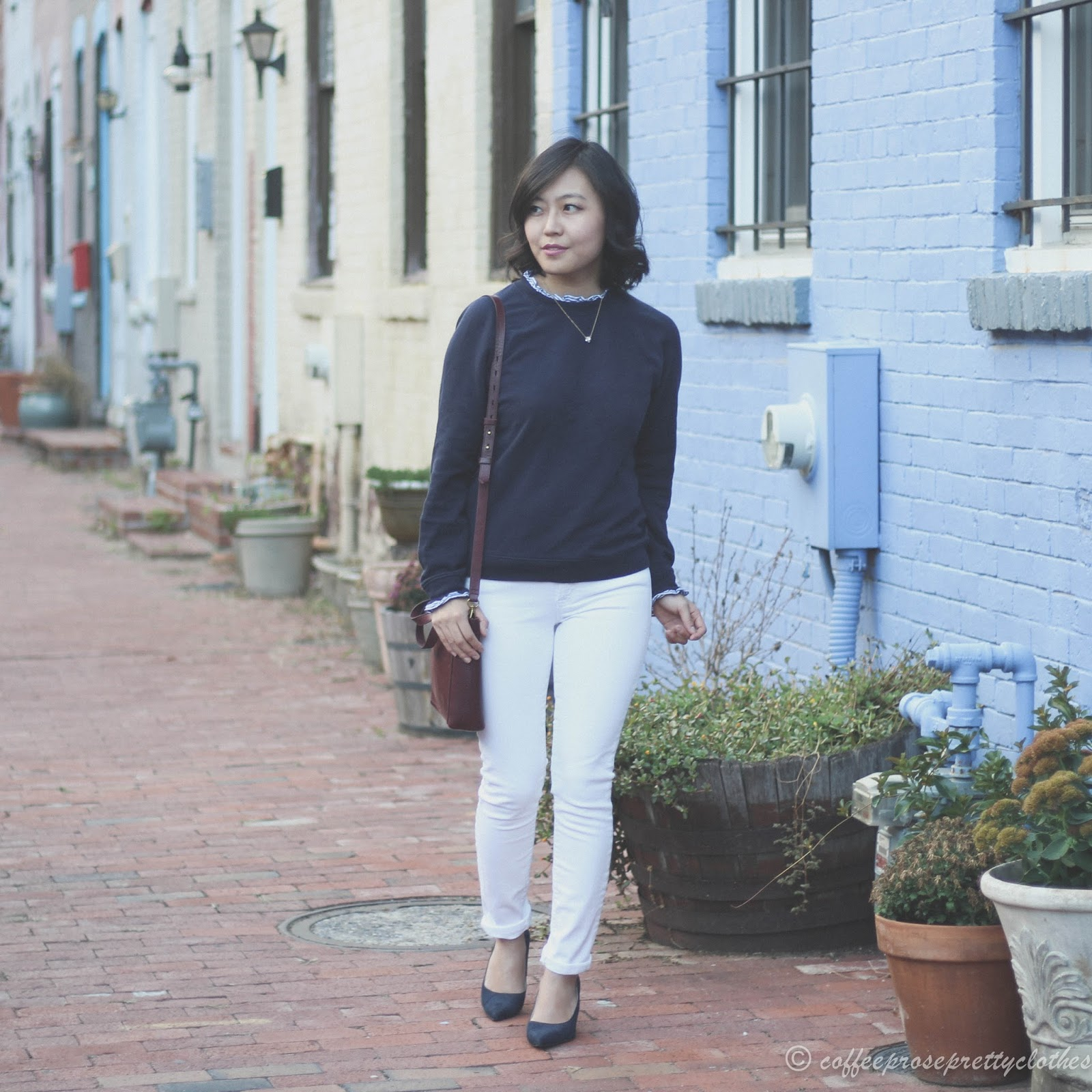 J.Crew Factory Sweater, J.Crew toothpick jeans, Madewell Small Transport Crossbody, Zara shoes