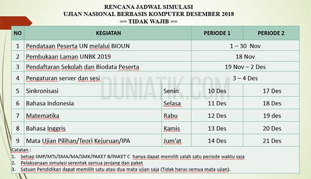 jadwal simulasi unbk 2019 untuk bulan desember 2018