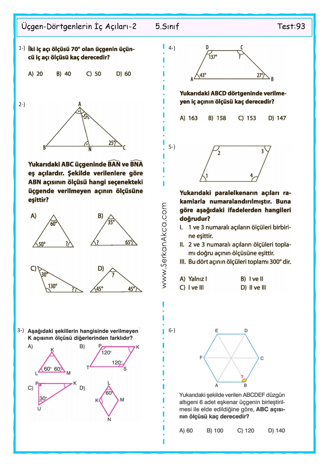 5 Sinif Ucgen Dortgenlerin Ic Acilar Toplami 2 Serkan Akca Matematik