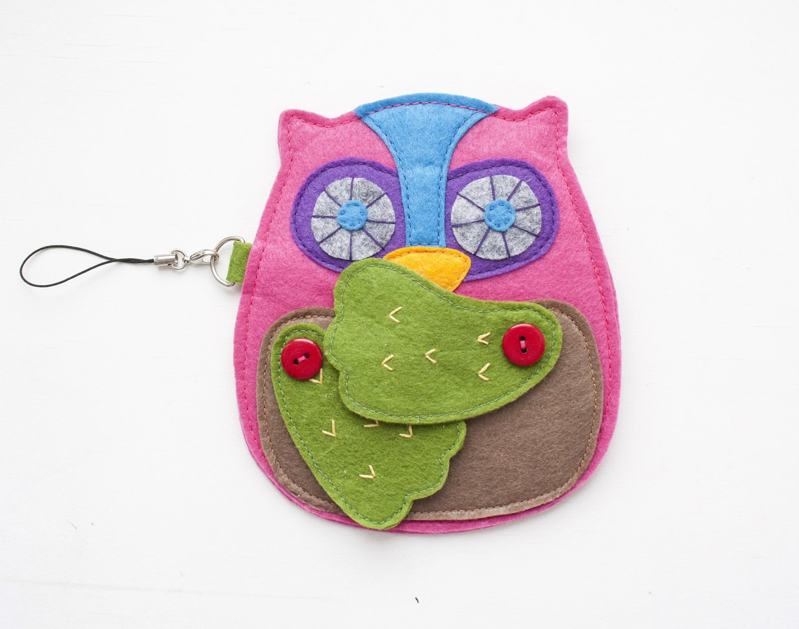 Cute Handmade Owl Zipper Wallet Coin Purse Pattern. DIY Step-by-Step Tutorial Instruction.