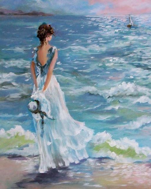 Tranh sơn dầu thiếu nữ bên biển