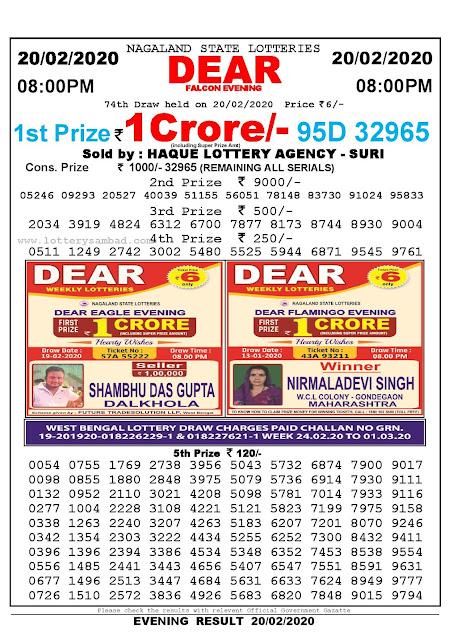 Lottery Sambad 20.02.2020 Nagaland Lottery Result 8 PM
