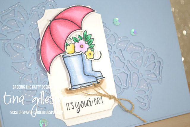 scissorspapercard, Stampin' Up!, CASEing The Catty, Under My Umbrella, Peaceful Moments, In Colour DSP, Poppy Moments Dies, Painted Labels Dies, Ornate Frames Dies, Stampin' Blends