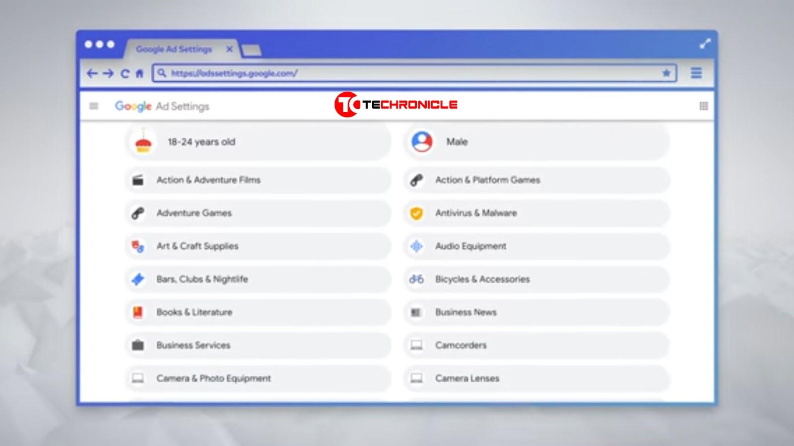 Google Ad Settings Screenshot Techroncile