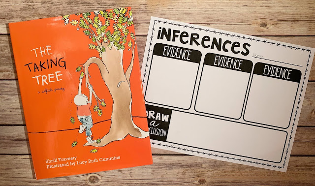 "Mentor text with the text ""The Taking Tree"" and graphic organizer with text ""inferences"""