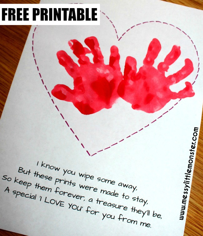 Printable handprint keepsake poem