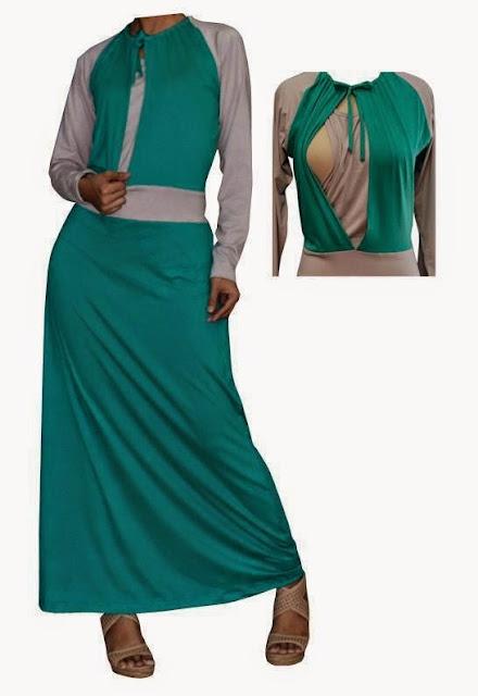 Busana Muslim Ibu Hamil Kombinasi Batik Gamis