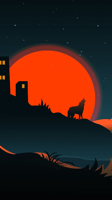 Wallpaper Sunset, Clouds, Wolf, Silhouette