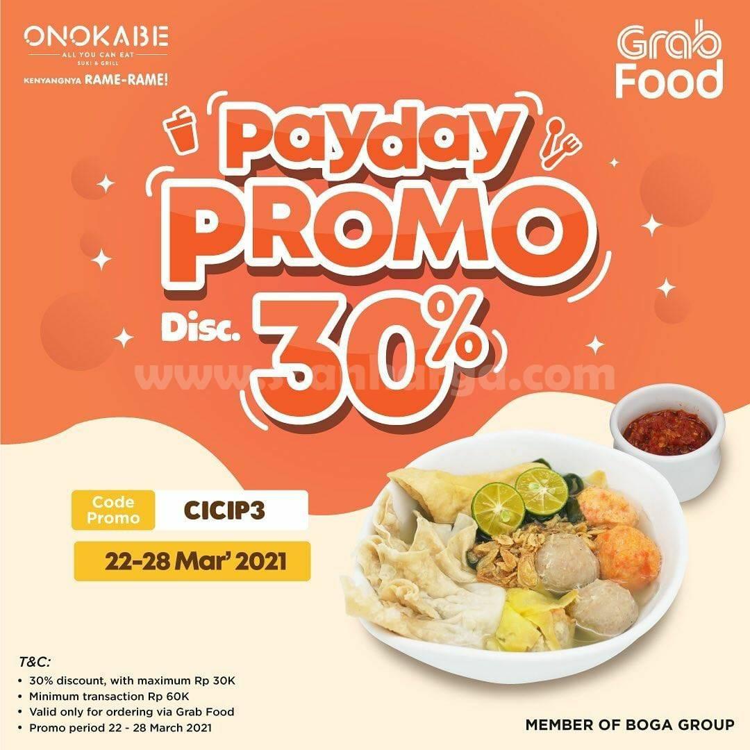 ONOKABE Promo PAYDAY GRABFOOD DISKON 30%