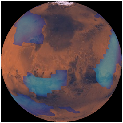 Computer simulation of middle altitude clouds on Mars. (Credit: Victoria Hartwick)