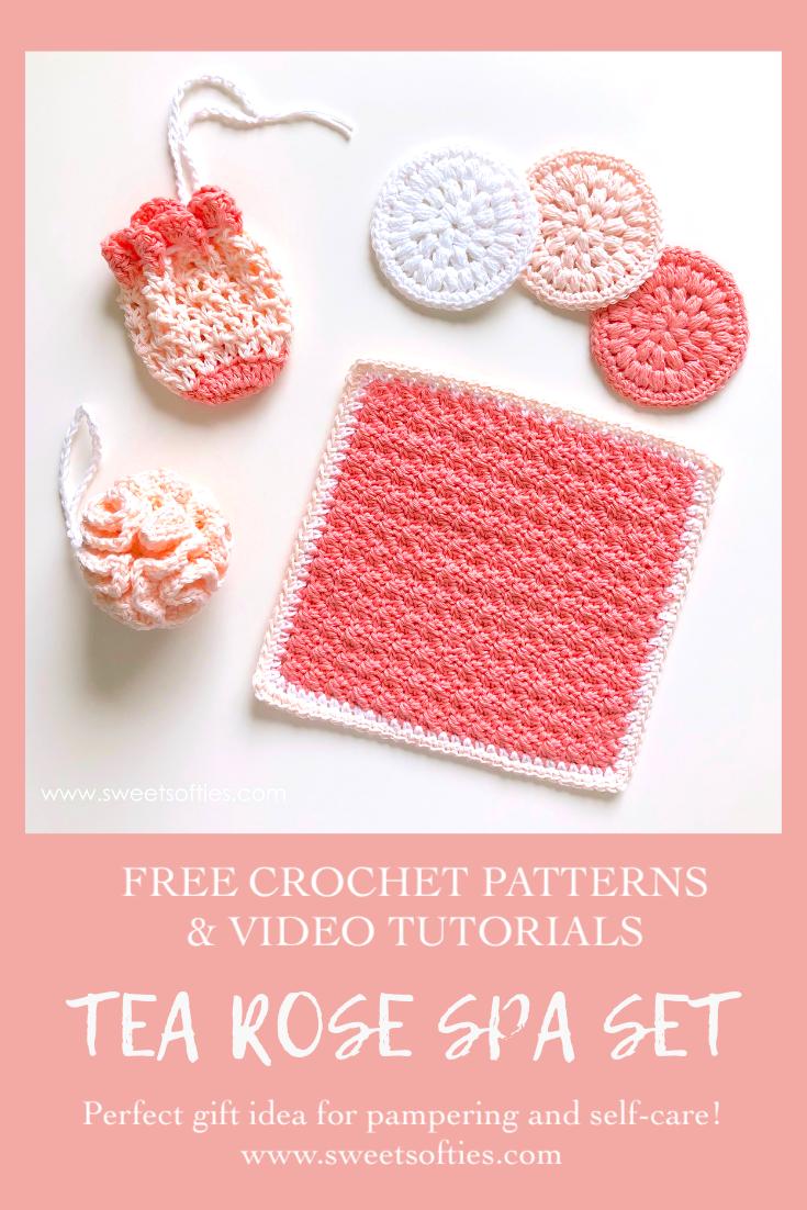 Tea Rose Spa Set Free 4 In 1 Crochet Pattern Bundle Sweet