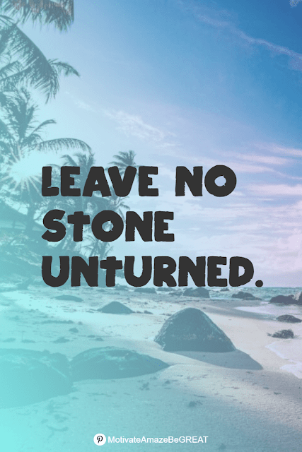 """Wise Old Sayings And Proverbs: """"Leave no stone unturned."""""""
