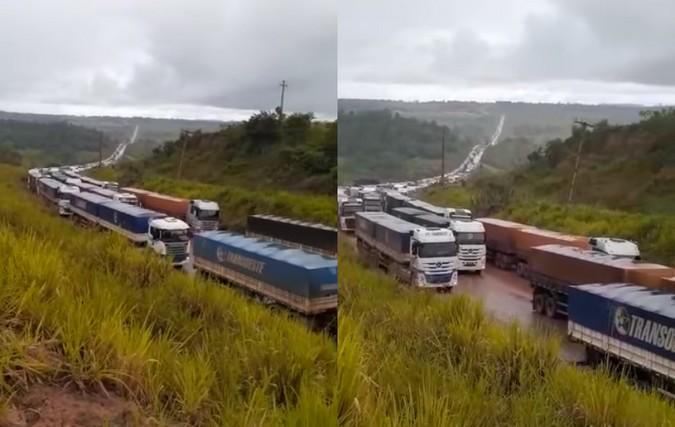 Fila quilométrica: Quase 3.000 caminhões de grãos aguardam para descarregar no Pará