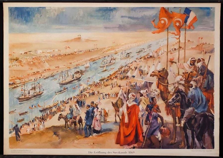 """A interconexão universal assentará as bases do império universal, das invasões pagãs e da fusão espandongada dos povos. Gravura da abertura do Canal de Suez com """"bênção"""" ecumênica."""
