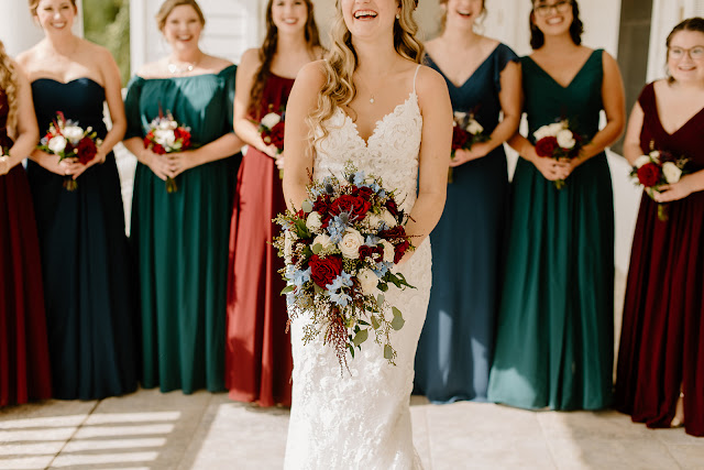 beautiful bouquets in red green and blue