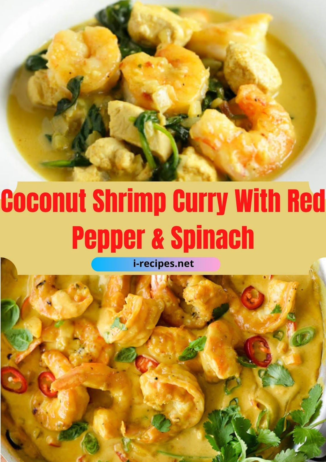 Coconut Shrimp Curry With Red Pepper & Spinach