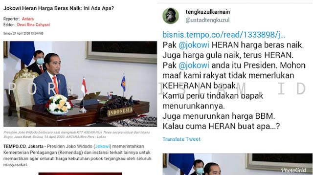 Jokowi Heran Harga Beras Naik, Ust. Tengku Zul: Cuma Heran Buat Apa?