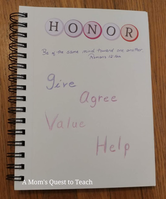 Bible Journaling art; Honor