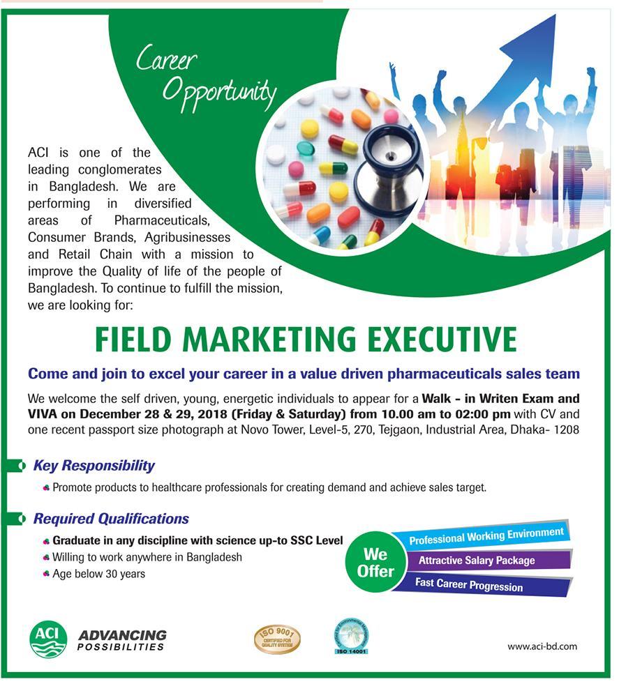 ACI Limited Field Marketing Executive Job Circular 2018