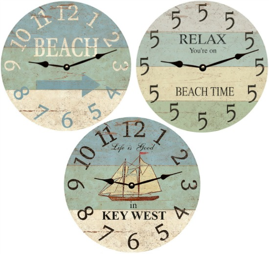 Wooden Beach Wall Clocks