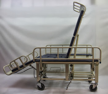 Convertible hospital bed commode wheelchair