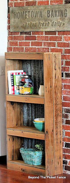 corrugated tin and reclaimed wood bookshelf