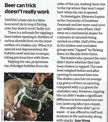 Beer can trick put to scientific test (Source: Sam Wong, New Scientist, 21 Dec 2019)