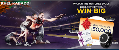 Watch Live Kabaddi Match Daily And Win Upto Rs.50,000 Gift Vouchers