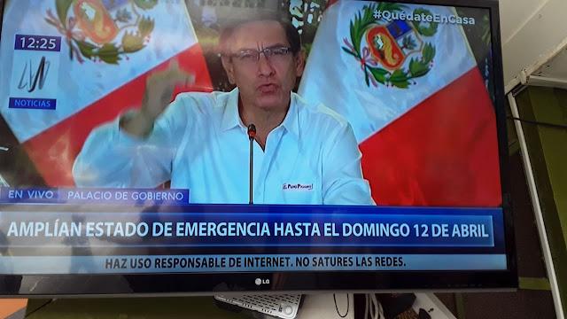 ampliación de estado de emergencia en Perú