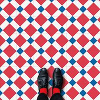 Modelos de alfombras vinilicas - Rojo, azul y blanco