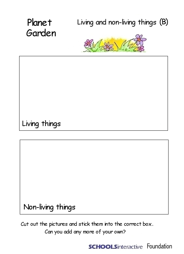 Learning Inspiration Worksheet For Living Things And Non