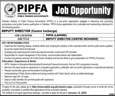 PIPFA Latest Jobs vacancies in 2020
