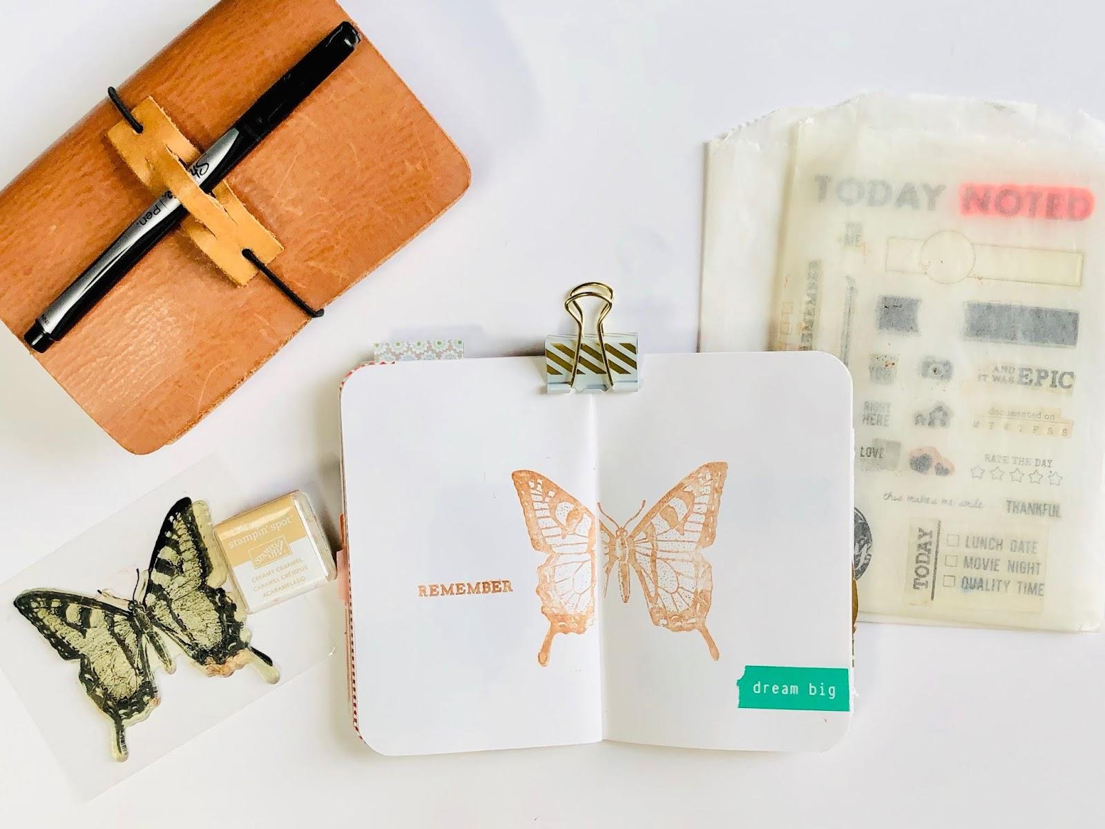 #stamping #Travelers Notebook #Gratitude Journal #journaling #Midori #Planner #notebook #thankfulness #gratitude #grateful #art journal #art journaling