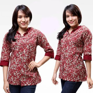 Model Baju Batik Kantor Wanita Unik