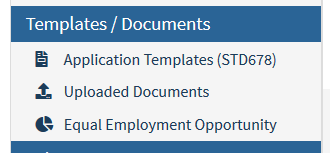 Image showing the section of your CalCareer Account where you can find Application Templates (STD 678)