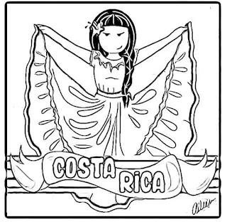 vestimenta Costa Ricavpara colorear