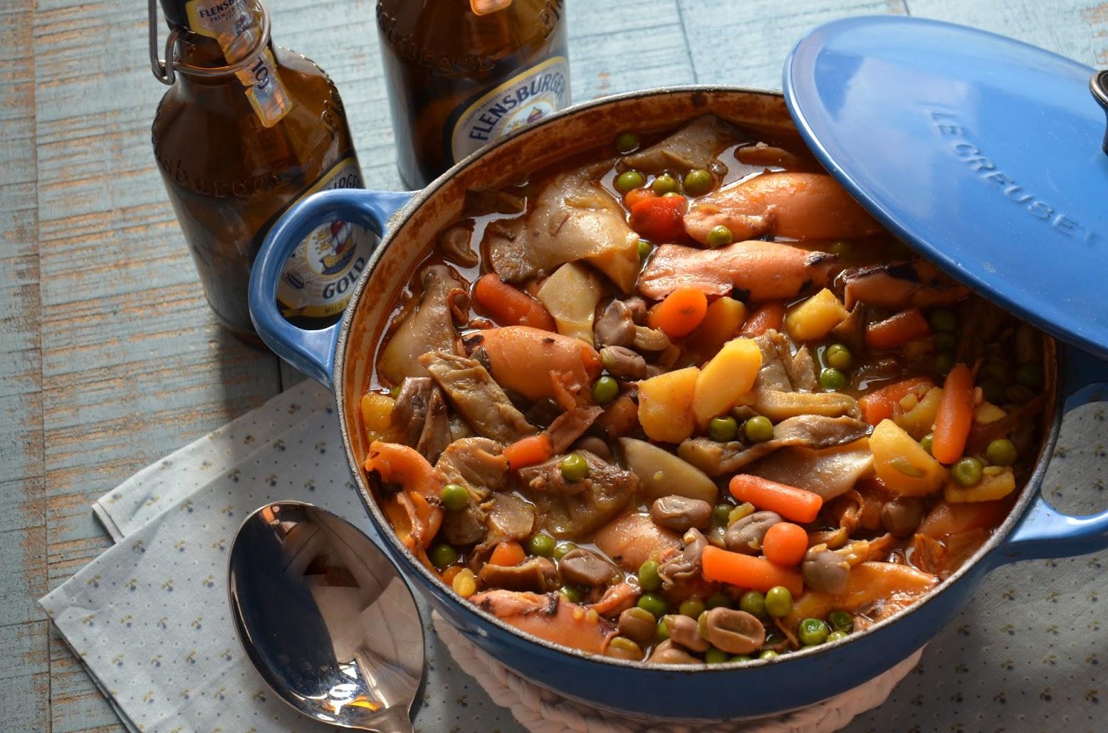 Calamares guisados con hortalizas y setas cuchillito y for Cocinar calamares pequenos