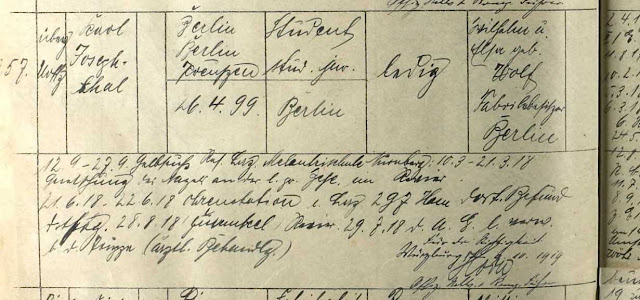 Extract from 23rd Bavarian Infantry register for Carl Josephthal