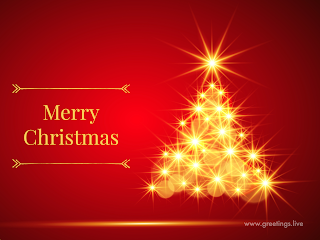 Sparkling christmas tree Merry Christmas wishes text
