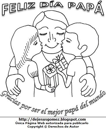 Imagen alusivo al Día del Padre para niños para colorear pintar imprimir. Dibujo por el Día del Padre de Jesus Gómez