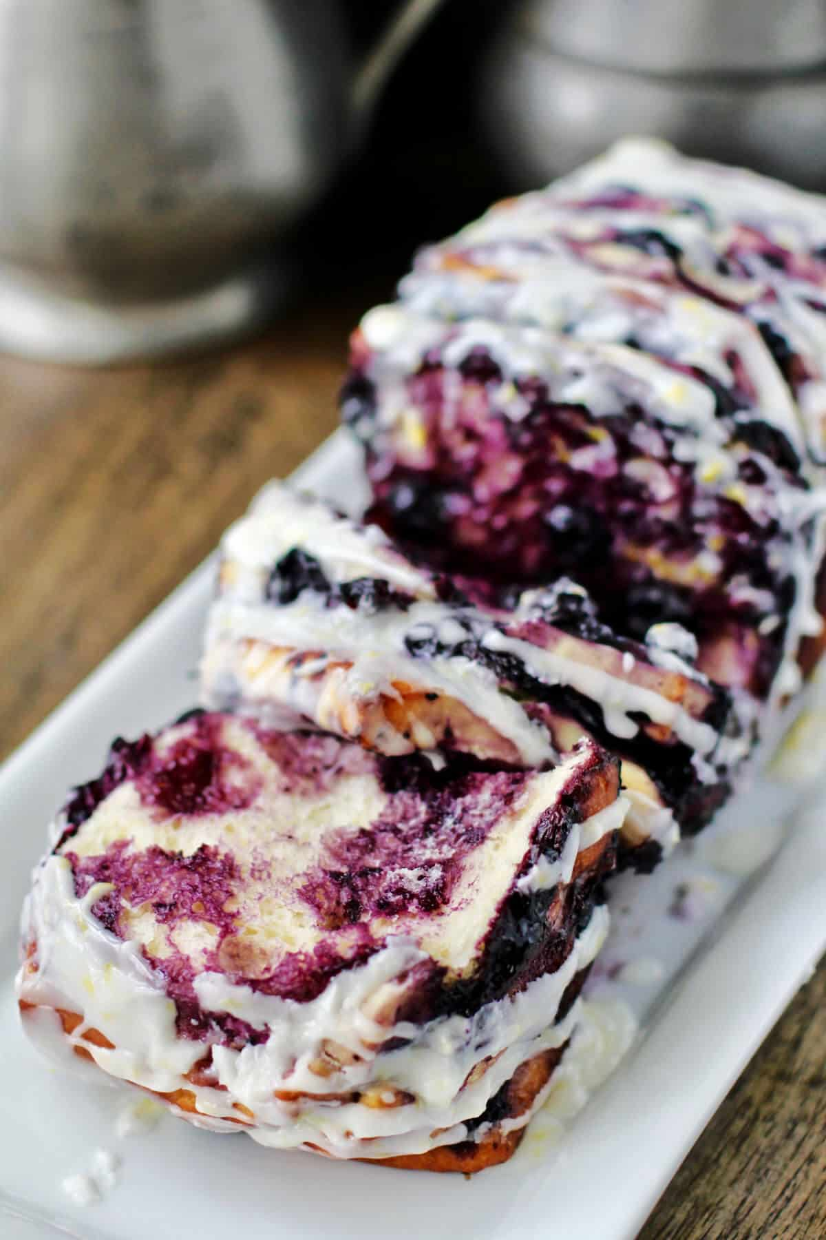 Roasted Blueberry Pull-Apart Loaf pulled apart.