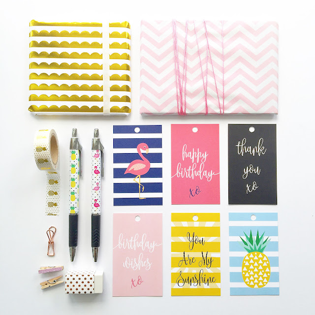 Stationery Flatlay by Mum and Me Handmade Designs featuring their new gift tags and pens.