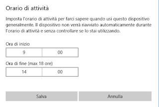 Imposta orario attività windows 10