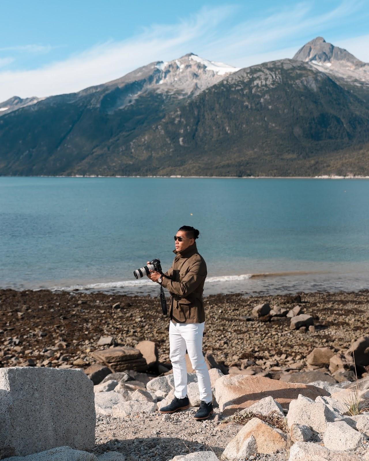 Leo Chan wearing ECCO Vitrus in Skagway, Alaska