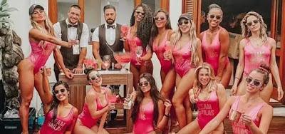 Bailarinas do Faustão comemoram fim de ano com festa na piscina; veja fotos