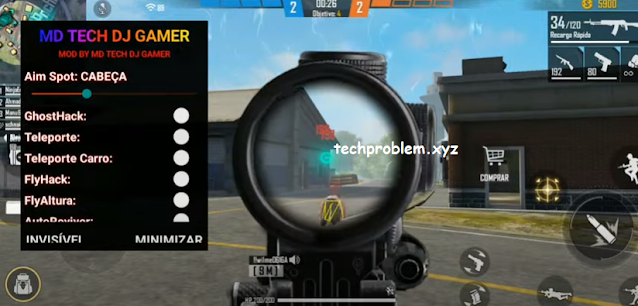 Free Fire Mod Menu MD Tech DJ Gamer Auto Headshot Ghosthack Teleport Antiban